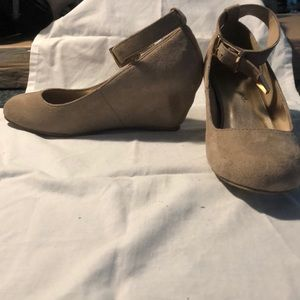 Taupe wedges with ankle strap
